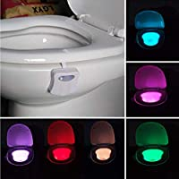 LED Toilet Lights Motion Detection, 8-Color Changing Inside Toilet Bowl Nightlight, Infrared Auto Motion Activated Sensor Seat Lamp Fixtures