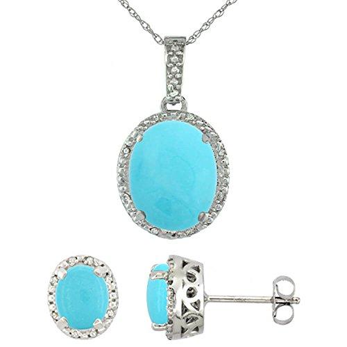 Or blanc 9Ct naturel ovale Turquoise boucles d'oreilles et pendentif Set Accents de diamant