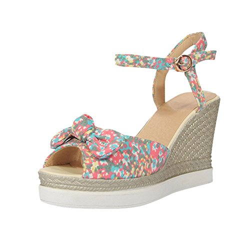Canvas Floral Charm Wedges Red Toe Peep Womens Sandals Foot U6nqnxOE