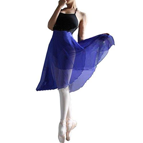 HOEREV Adult Sheer Wrap Skirt Ballet Skirt Ballet Dance Dancewear, Medium, Royalblue