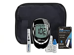 TrueMetrix Blood Glucose Testing Kit. Includes: Meter, 10 Test Strips, 10 Lancets, Adjustable Lancing Device, Control Solution, Owners Log Book & Manual