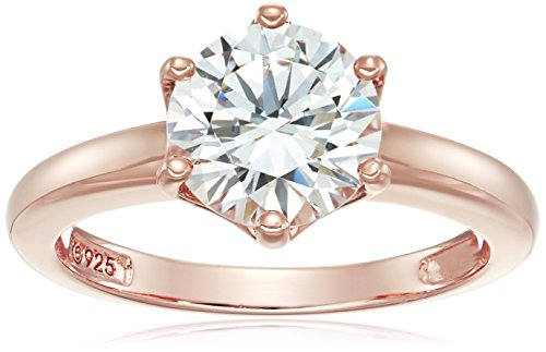 Rose Gold Sterling Silver Swarovski Zirconia Round Solitaire Ring, Size 8