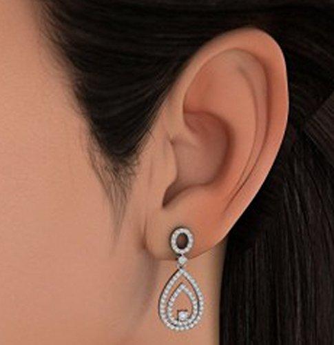 18K Or Blanc 1,52CT TW Round-cut-diamond (IJ | SI) Pendants d'oreilles
