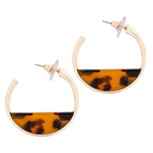 XOCARTIGE Acrylic Earrings Circle Resin Hoop Earrings Upgraded Mottled Fan Earrings Stud Earring for Women