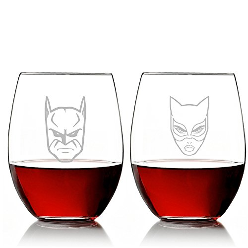 Mic&Co - Bat Man and Cat Woman Stemless 15 oz Wine Glass Set