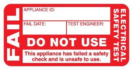 12 FREE Fail Labels Price per Pack of 120 Passed Labels Electrical Safety Test Passed Labels P//NO. 7828107 50mm x 25mm