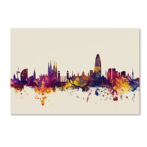 Trademark Fine Art Barcelona Spain Skyline by Michael Tompsett, 30x47-Inch Canvas Wall Art by Trademark Fine Art