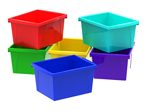 Storex Small Storage Bins, 13.625 x 11.25 x 7.87 Inches, Assorted Colors, Case of 6 -
