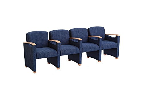 Lesro Somerset Four Seat Reception Chair w/Arms - Solid Core Fabric Dimensions: 95