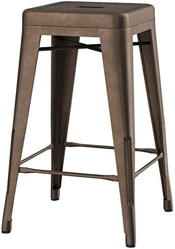 BTEXPERT 5003-24CC-4 24-inch Industrial Metal Vintage Antique Copper RusticCounter Bar Stool