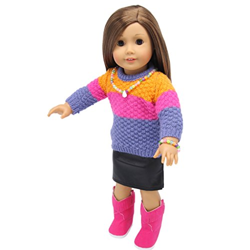 e736adf9ed4dc Longues Robe 18   PU eacute e Manches Accessoires Cadeau Fille ecirc tement  Pour American V Enfant ...
