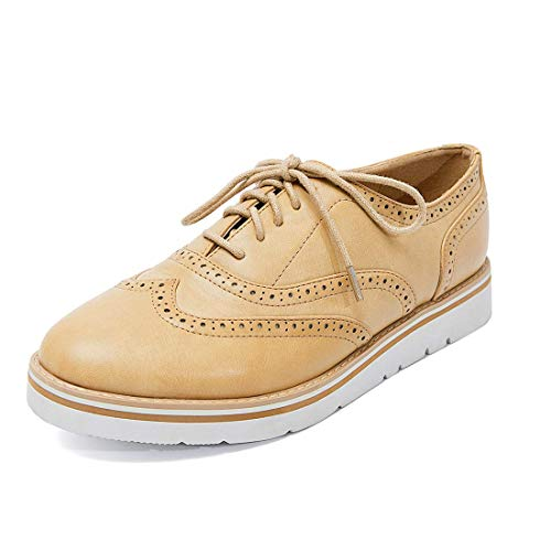 (GOUPSKY Womens Oxfords Lace Up Leather & Suede Loafers Platform Wingtip Brogues Perforated Casual Shoes)