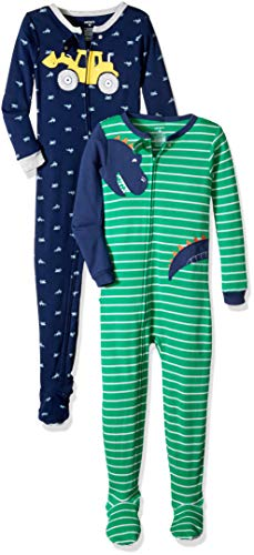 (Carter's Boys' Toddler 2-Pack Cotton Footed Pajamas, Dinosaur/Digger, 5T)