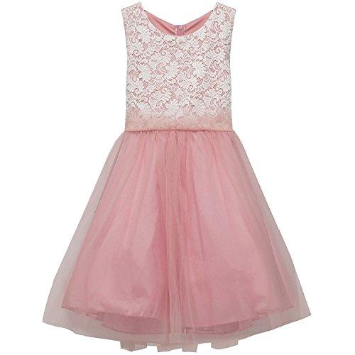 iGirldress Big Girl Stretch Lace Tulle Skirt Husky Plus Size Flower Girl Dress Dusty Rose Size 18 Husky