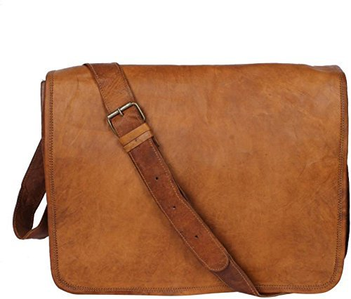Leather Flap Bag - Leather Full Flap Messenger Handmade Bag Laptop Bag Satchel Bag Padded Messenger Bag School Bag Brown