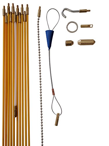 Wire Noodler: Most Complete Wire and Cable Pulling Fish Tape Kit. Includes Fiberglass Rod, Plus 10in Chain Noodle, LED Light, Hooks, and Carrying Case (11 foot)
