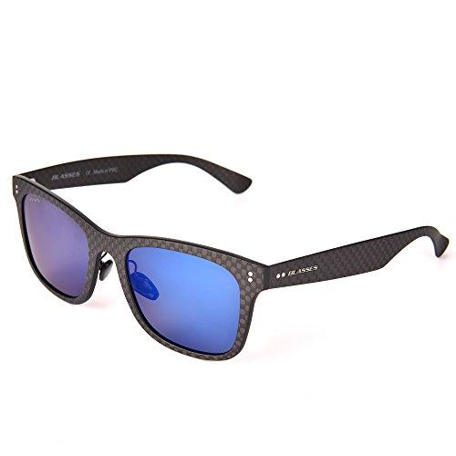 BLASSES Carbon fiber Polarized Wayfarer sports fashion super light sunglasses for Men Women-100% UV protection (Black, - Fiber Glasses Carbon
