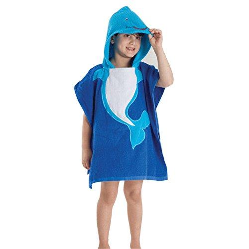 BEIXI Kids Cartoon Animal Face Hooded Woven Terry Bathrobe Towel Bathrobe Cloak Whale