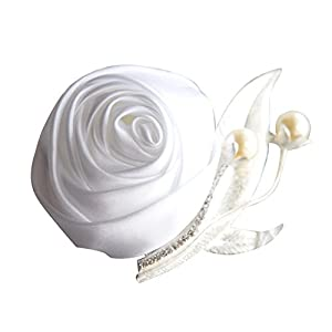 Groom Groomsmen Brooch Satin Rose Boutonniere for Prom Party Wedding, Pack of 6, White 66