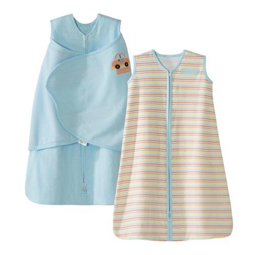 HALO-SleepSack-100-Cotton-Swaddle-and-Wearable-Blanket-Gift-Set-BlueCar-Multi-Stripe-2-Piece