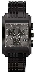 Burberry BU1563 - Reloj cronógrafo de hombre (correa de piel, esfera cuadrada), color negro
