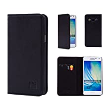 Samsung Galaxy A5 (2015) Leather Wallet Case Designed by 32nd, Classic Real Leather Design With Card Slot, Magnetic Closure and Built In Stand - Black