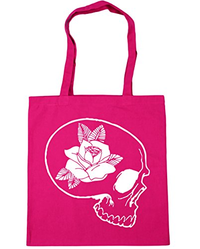 HippoWarehouse skull and rose Tote Shopping Gym Beach Bag 42cm x38cm, 10 litres Fuchsia