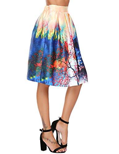 Chigant Womens Floral Plain Vintage High Elastic Waist A Line Pleated Skirts Knee Length