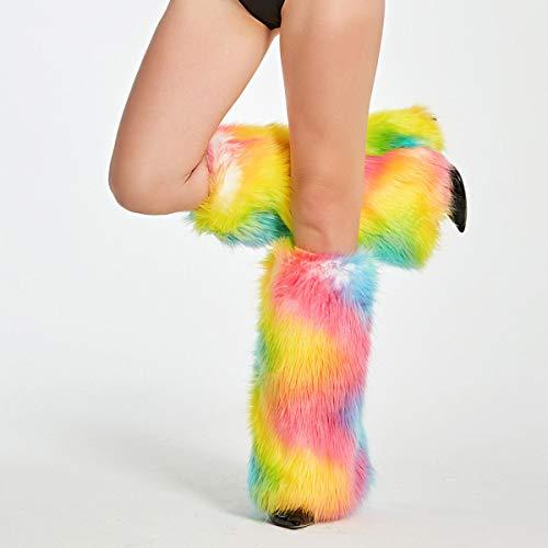 Furry Leg Warmer Fluffies Spandex Elastic Cuff Faux Fur Tie Dye Rainbow Color]()