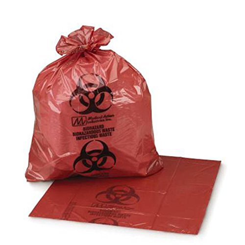 Medegen Medical Products 47-73 Red/Black LLDPE Biohazardous Waste Bags, 1.60 mil Gauge, 40 gal to 45 gal Capacity, 40'' x 46'' (Pack of 100)