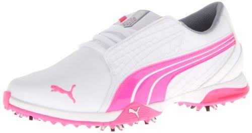 PUMA Women's Biofusion Golf Shoe,White/Fluorescent Pink,7 M US