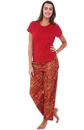 Del-Rossa-Womens-Modal-Knit-Pajamas-Long-Loose-Off-the-Shoulder-Pj-Set
