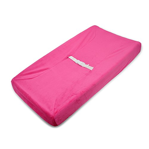 Pink Changing Table - American Baby Company Heavenly Soft Chenille Fitted Contoured Changing Pad Cover, Hot Pink