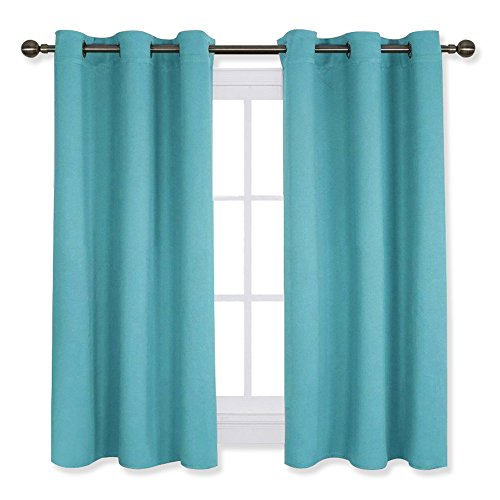Thermal Insulated Curtains Blackout Draperies, Window Treatment Solid Grommet Room Darkening Drape Panels for Bedroom (Turquoise=Light Blue, Set of 2 Panels,42 by 45 Inch Long)