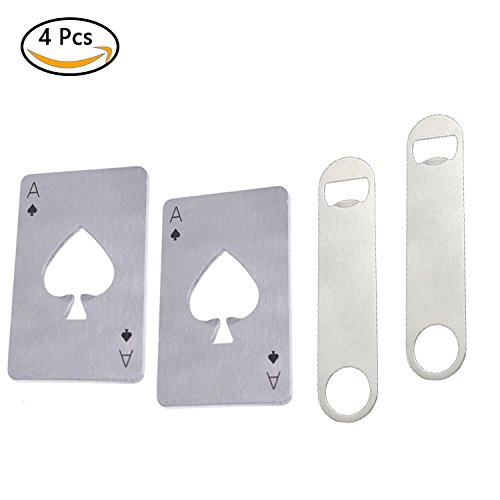 4PCS Bottle Opener For Bartender , 2PCS Beer Credit Card Stainless Steel Poker Shaped Speed Corkscrew And Double Bar Heavy Duty Flat Decrowner , Long Professional Opener Gifts For Outdoor , Casino (Bartender Sticker)