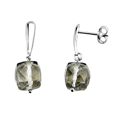Boucled'oreille 18k or blanc longue pierre olivine [AA6101]