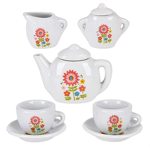 ArtCreativity Mini Porcelain Tea Set for Kids | Ceramic Pretend Play Set | Miniature Saucers, Cups, Teapot, Sugar and Cream Dispenser | Best Holiday or Birthday Gift for Boys and Girls Ages 8+