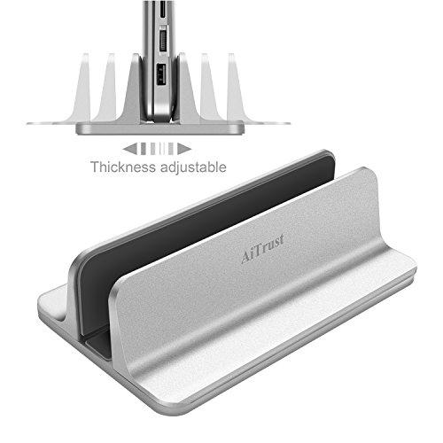 AiTrust Aluminum Vertical Laptop Stand Thickness Adjustable Desktop NoteBooks Holder Erected Space-saving Bookshelf Stand for MacBook Pro/Air