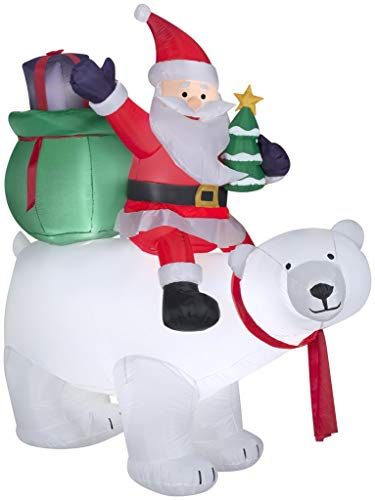 Bear Polar Riding (Tamie's Tees And Things SANTA ON POLAR BEAR 6' AIRBLOWN LIGHTS UP SELF INFLATES CHRISTMAS YARD DECOR INFLATABLE)