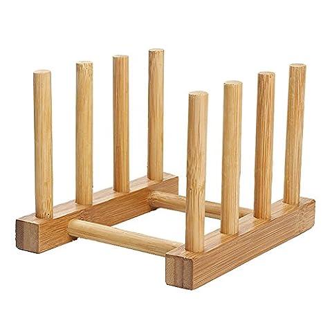 Gracefulvara Wooden Dish Drainer Plate Rack Holder Stand,Plates Drying Storage Kitchen Tool - Wood Pot Rack