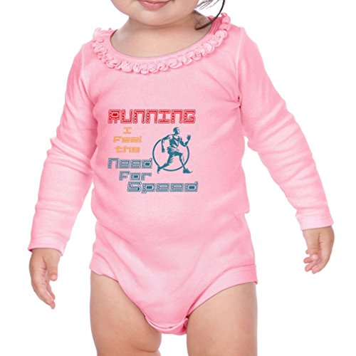 Running I Feel The Need For Speed Sport Cotton Long Sleeve Scoop Neck Girl Sunflower Ruffle Baby Bodysuit - Soft Pink, 12 - Suit Speed Running