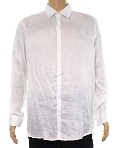 Tasso Elba Mens Printed Button Front Dress Shirt Blue S -