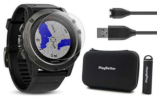 Garmin Fenix 5X Sapphire (Slate Gray with Black Band) Bundle with Screen Protector, PlayBetter Portable Charger & Protective Hard Case | Multi-Sport GPS, TOPO Maps/Navigation & On-Wrist Heart Rate