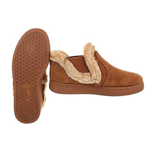 Zapatos para mujer Botas Plano Classic Botines Ital-Design Braun