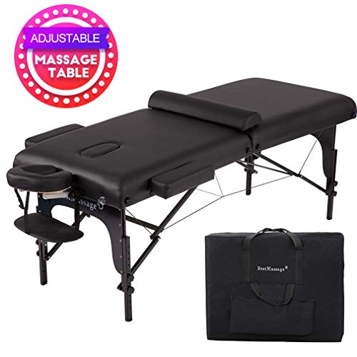 """Massage Table Portable Massage Bed Spa Bed 77 """" Long 30"""" Wide Height Adjustable 4"""" Thick Density Memory Sponge PU Portable Massage Table 2 Fold Bed w/Carry Case Facial Cradle Salon Tattoo Bed"""