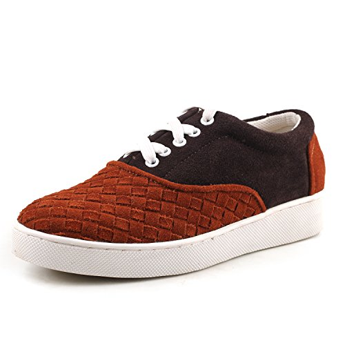 Shenduo Men's Suede Leather Sneakers Lace up Espadrilles Flat Shoes D7366 Brown