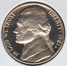 1981 S Proof Jefferson Type 1 Nickel PF1