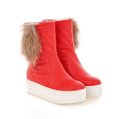 Artificial Womens B US Red 6 Heels Low Round Boots Short Frosted with Toe Plush Solid turf Close M PU 5 AmoonyFashion OZndd
