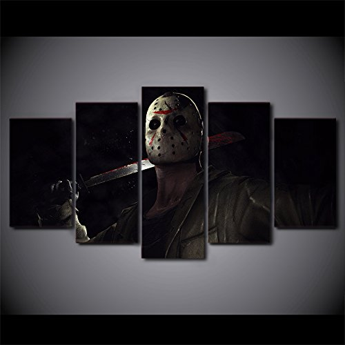 Jason-Voorhees-Friday-the-13th-character-print-canvas-decoration-5-pieces