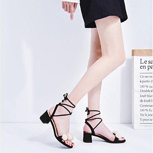 Version De Bandage Coréenne Noir Noir Sauvage Talons Romaines des À Épaisse 35 avec Couleur De La Sandales avec Chaussures Taille Jingsen Été des 8XYwff